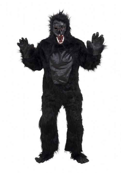 Adults Gorilla Costume & Rubber Chest Costume Ape Monkey Animal Fancy Dress